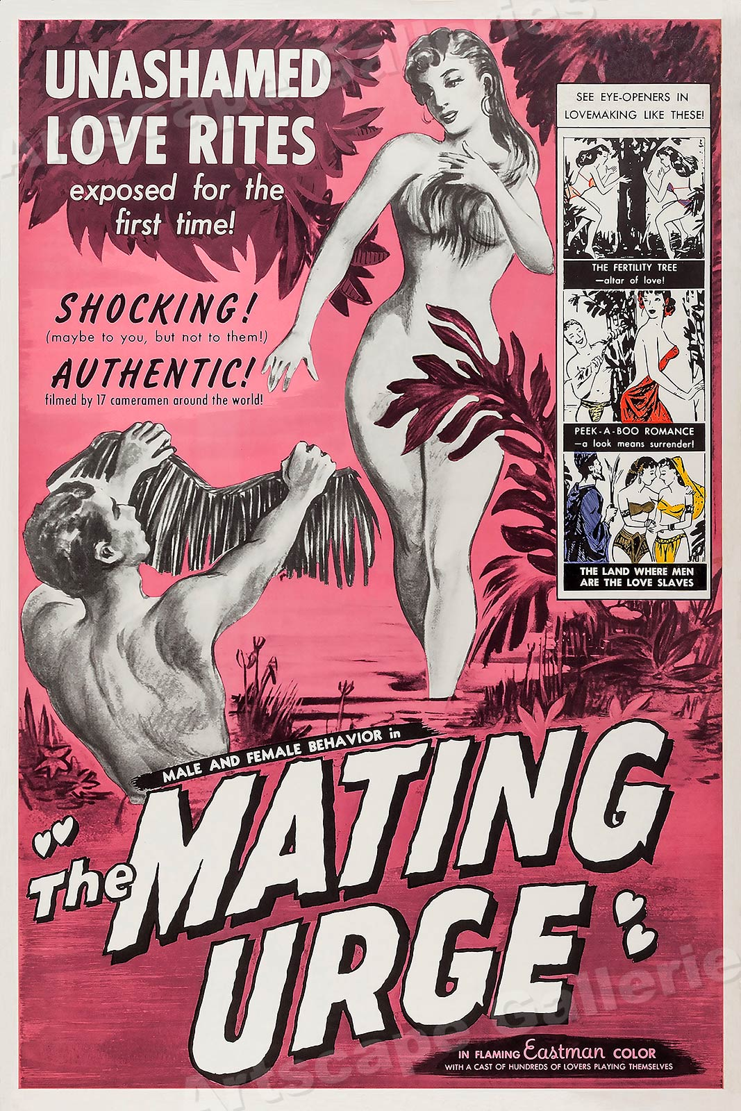 "20x30 1959 Adult Movie Poster /""The Mating Urge/"" Shocking!"