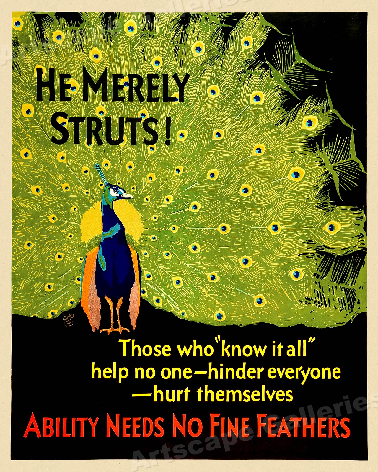 24x30 Ability Needs No Fine Feathers 1929 Workplace Motivational Poster