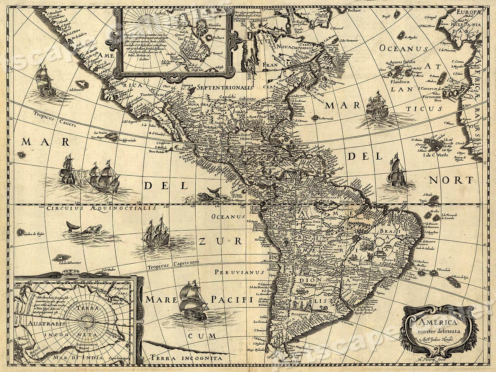 18x24 1640 America New World Western Hemisphere Historic Map
