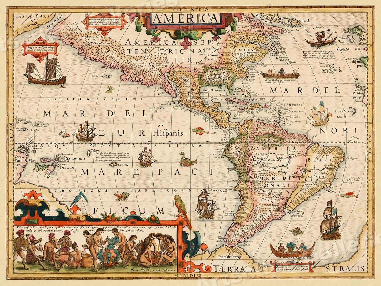 New World North South America 1639 Vintage Style Illustrated Map
