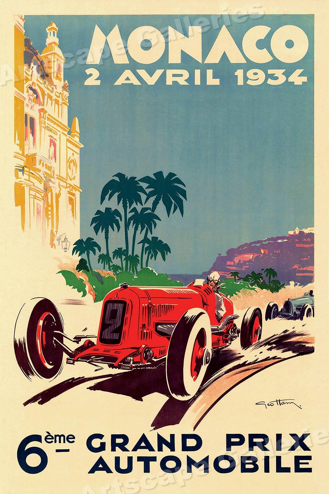 A2  Reprint 1934 German Grand Prix Poster A3