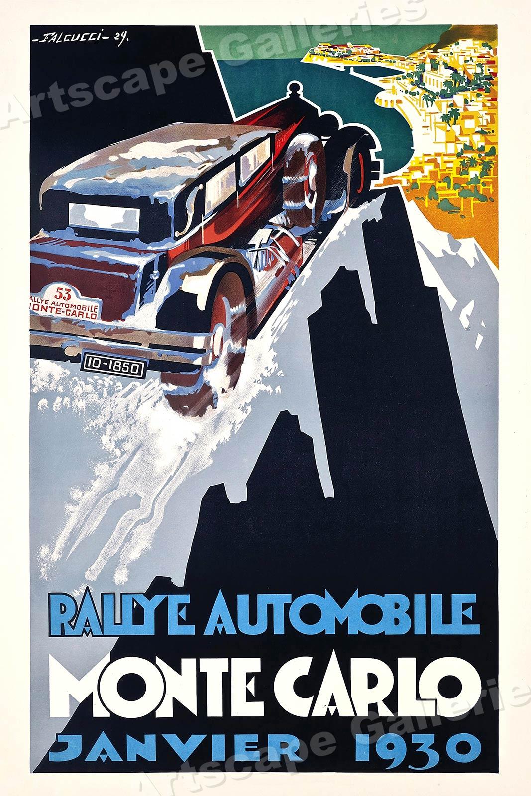 "16x24 1930s ""Monte Carlo Rallye"" Vintage Style Road Racing Auto Poster"