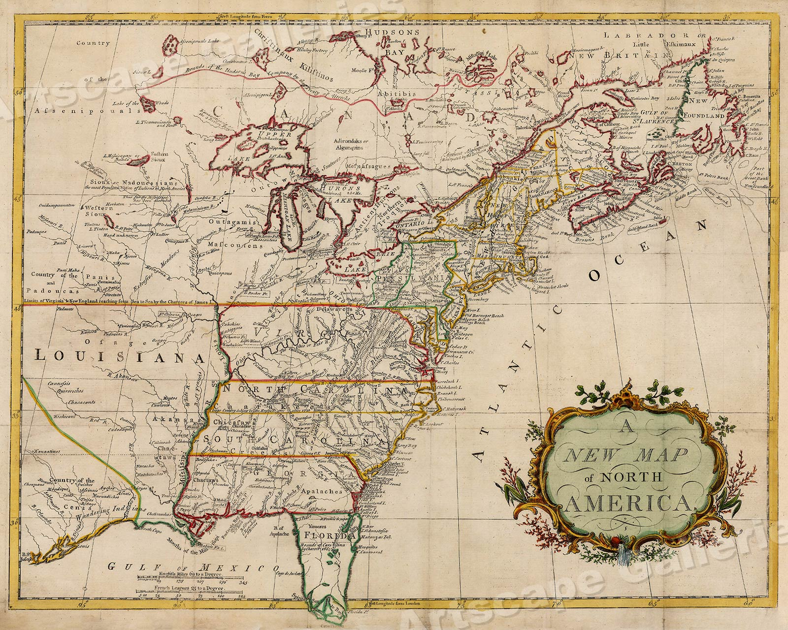 New Map Of America.Details About A New Map Of North America 1760s Vintage Style Early Us Map 20x24