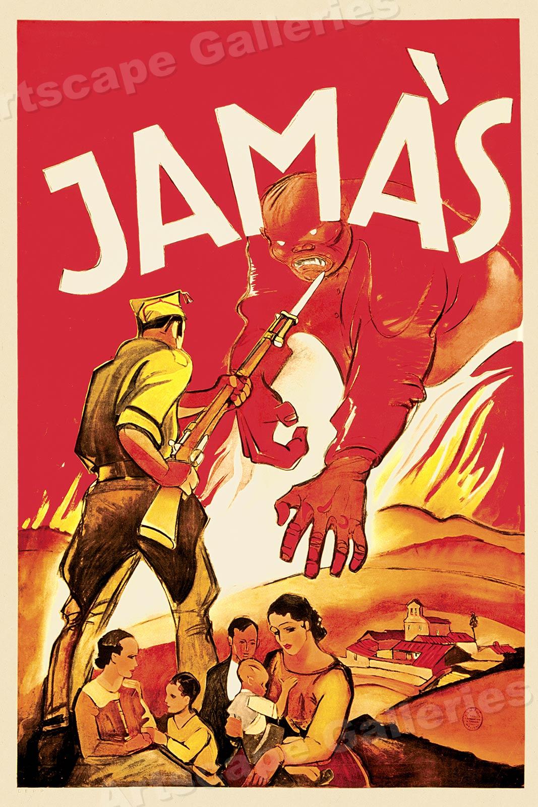 Los Trabajadores 1930s Spanish Civil War Poster 18x24