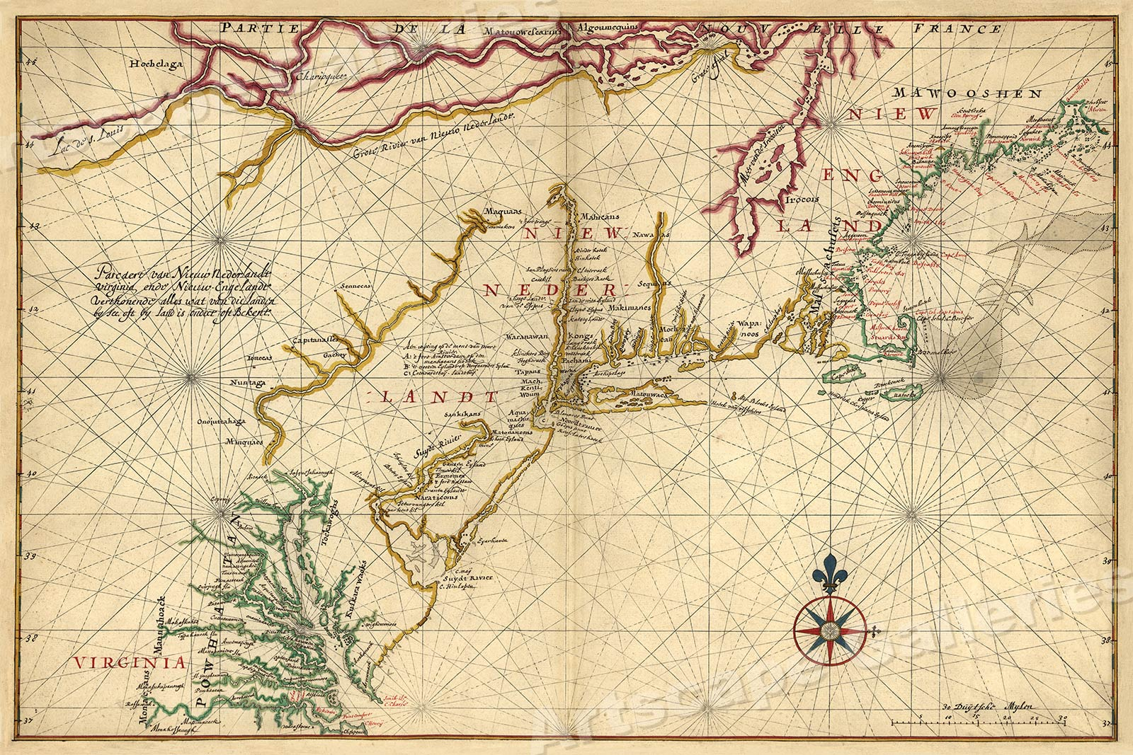 Map of New Netherland New England 1639 Vintage Style Navigational Map 24x36