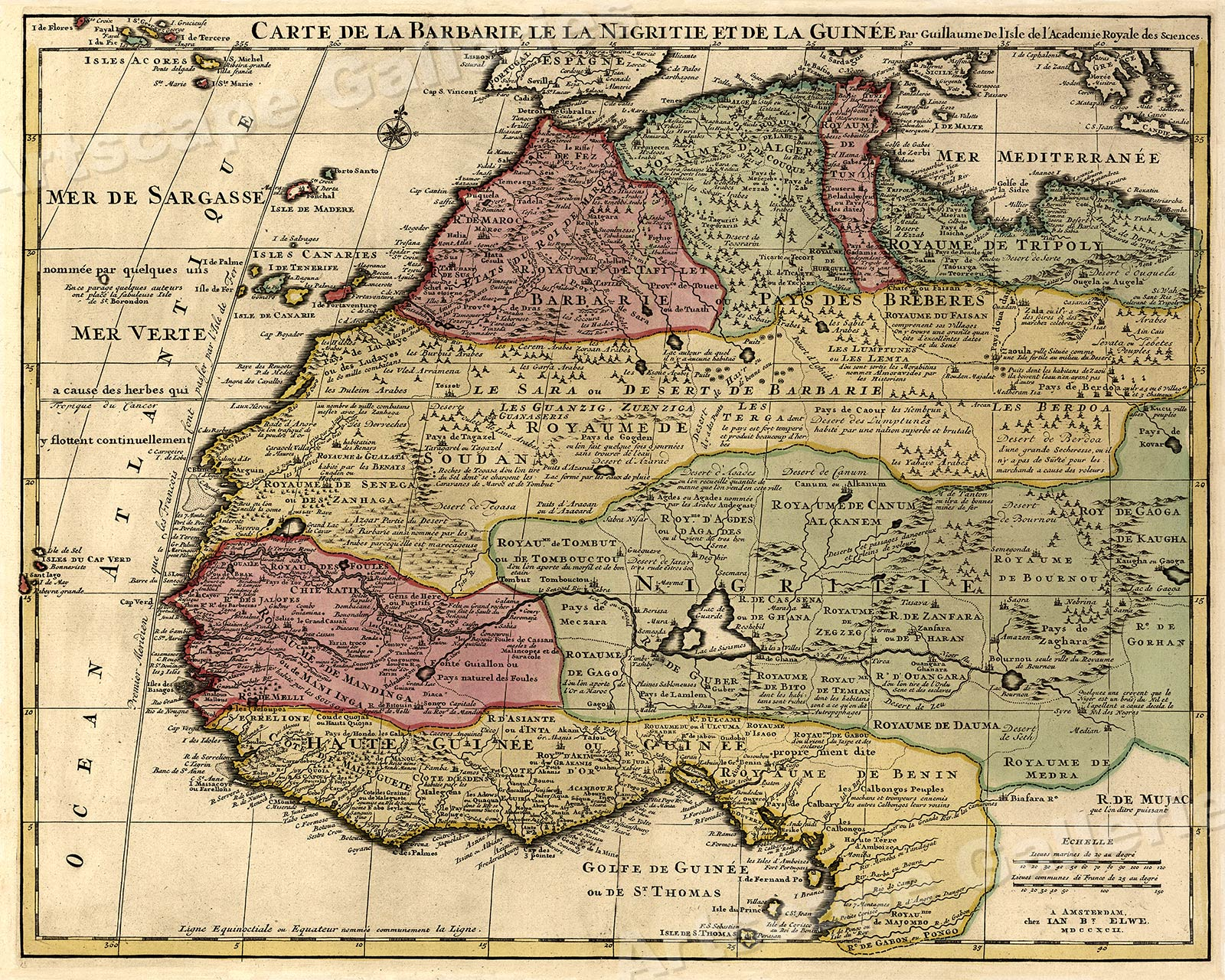 1700s Map of North Africa Map