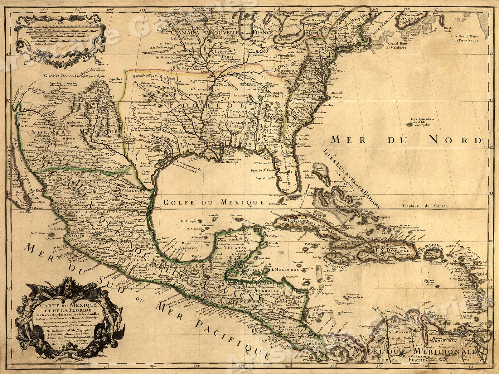1700s New World Spanish Colonies Old Map - 20x28 | eBay
