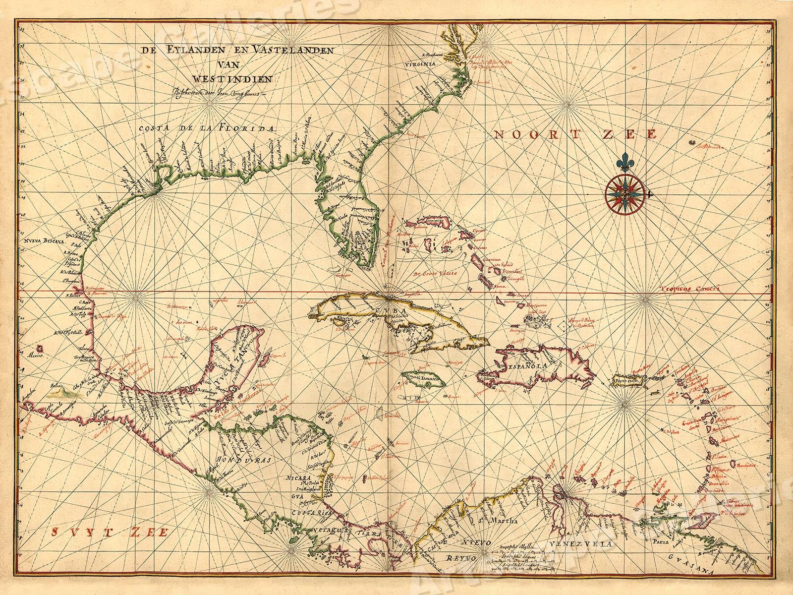 Atlantic Coast North America 1639 Vintage Style Navigational Map 20x30