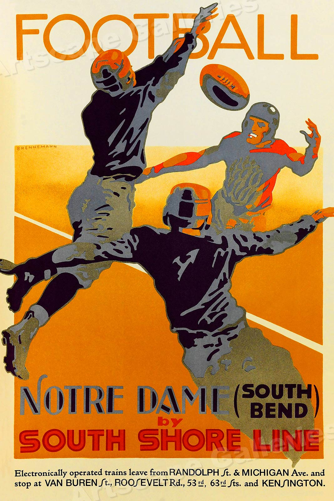 1926 Notre Dame Football Vintage Style College Football Poster 20x30