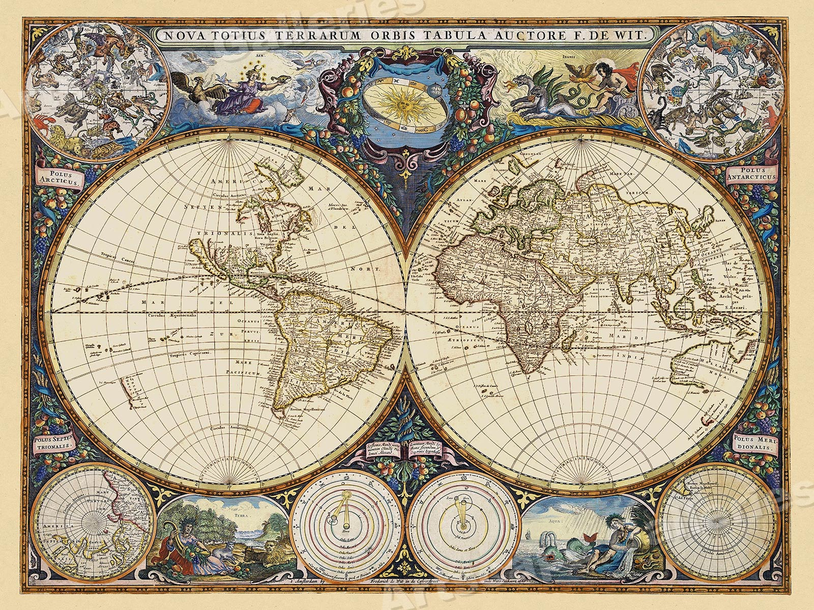 1660 de Wit Vintage World Celestial Historic Elemental Map 24x32