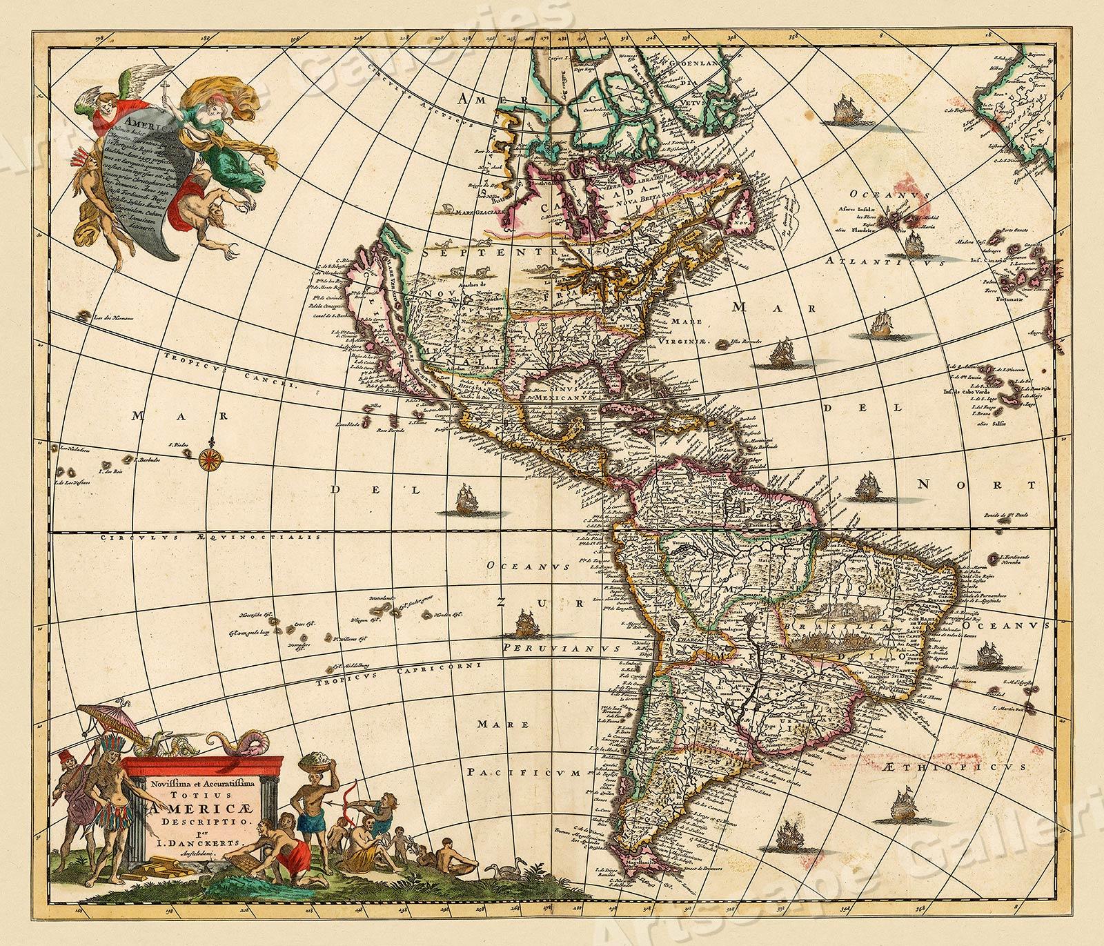 1680s Interesting Historic Old World Map 20x24
