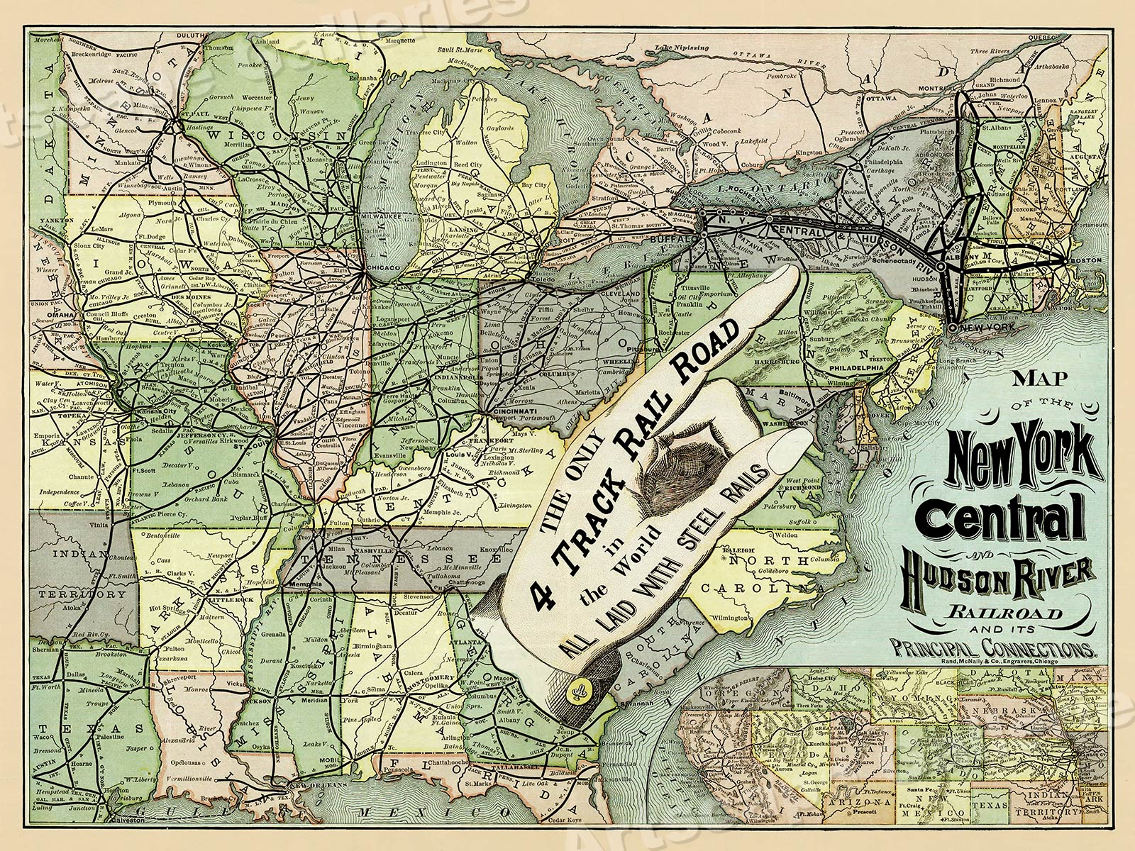 1870s NY Central and Hudson River RR Map - 18x24 | eBay