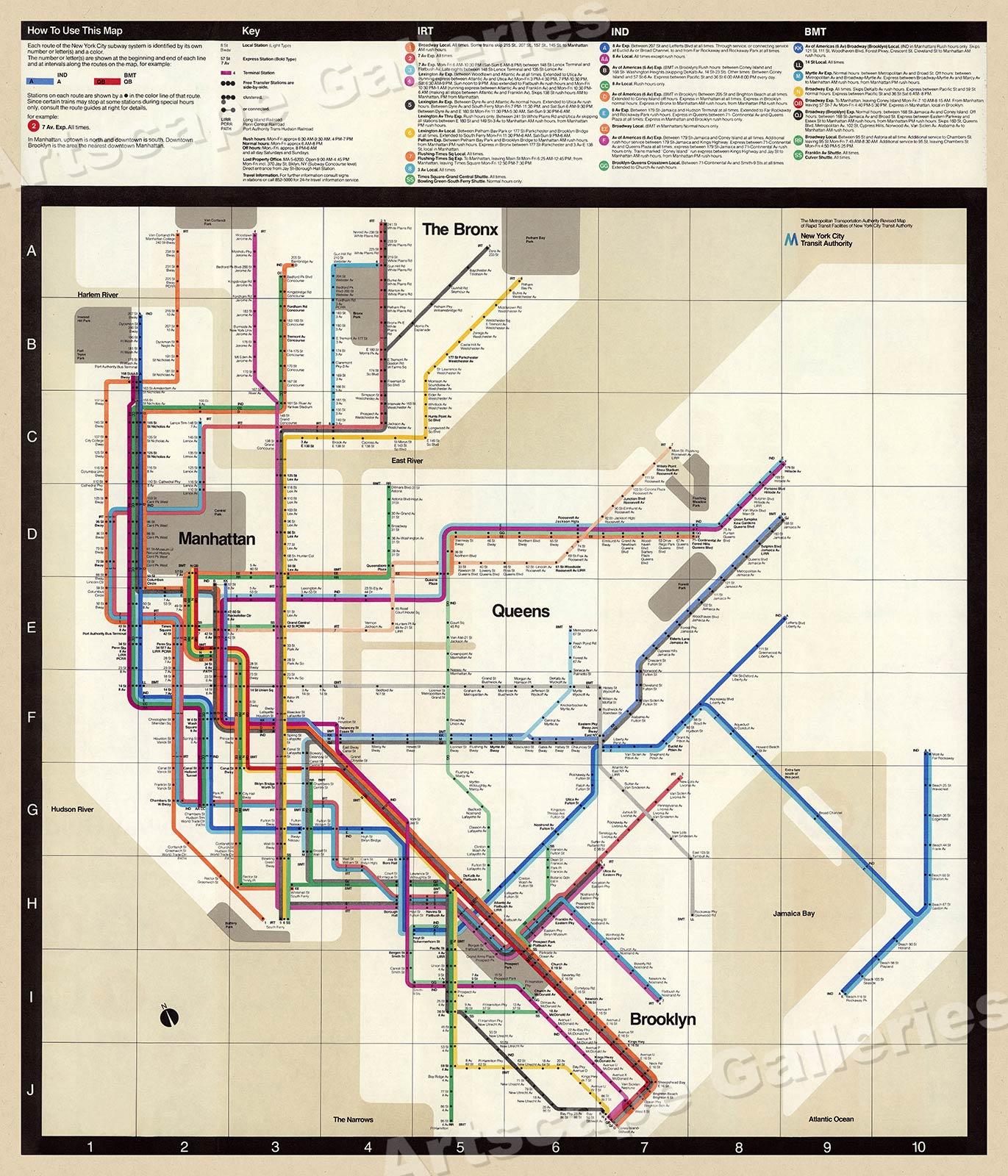 New York Subway Map Vignelli.1972 Massimo Vignelli New York Subway Map 24x28 Ebay