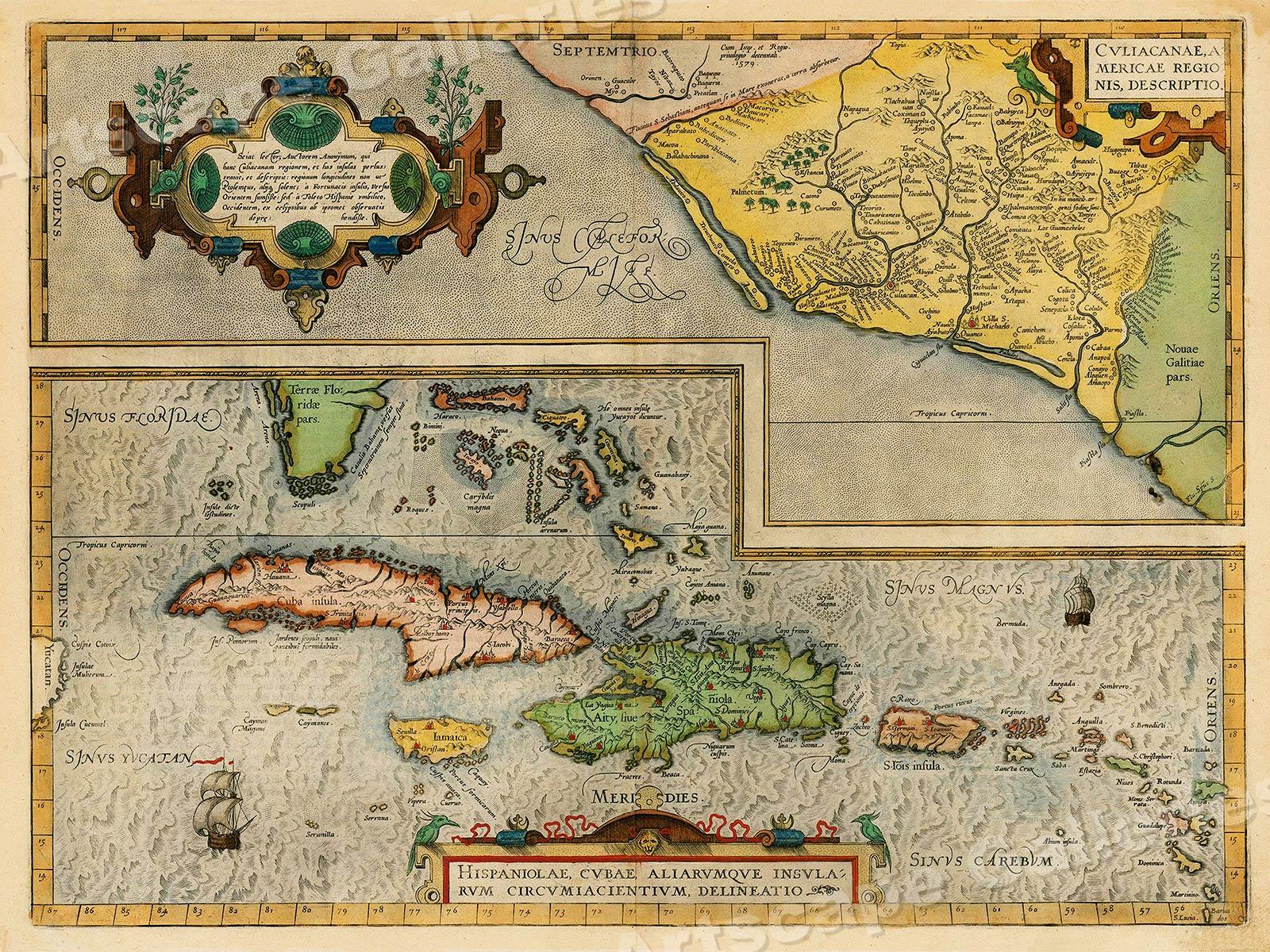 1580 Caribbean Cuba Historic Vintage Style New World Map 18x24