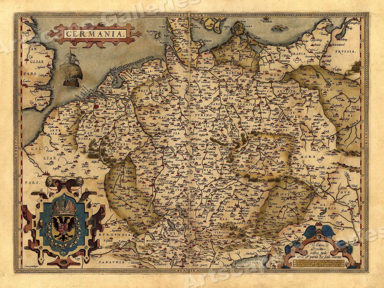 1570 Orbis Terrarum Spain Historic Vintage Map 20x28