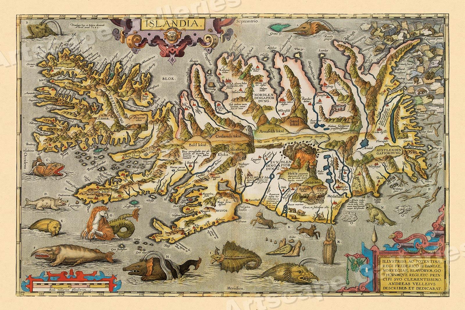1590 John White's Virginia Historic Vintage Style Unique Wall Map 24x32
