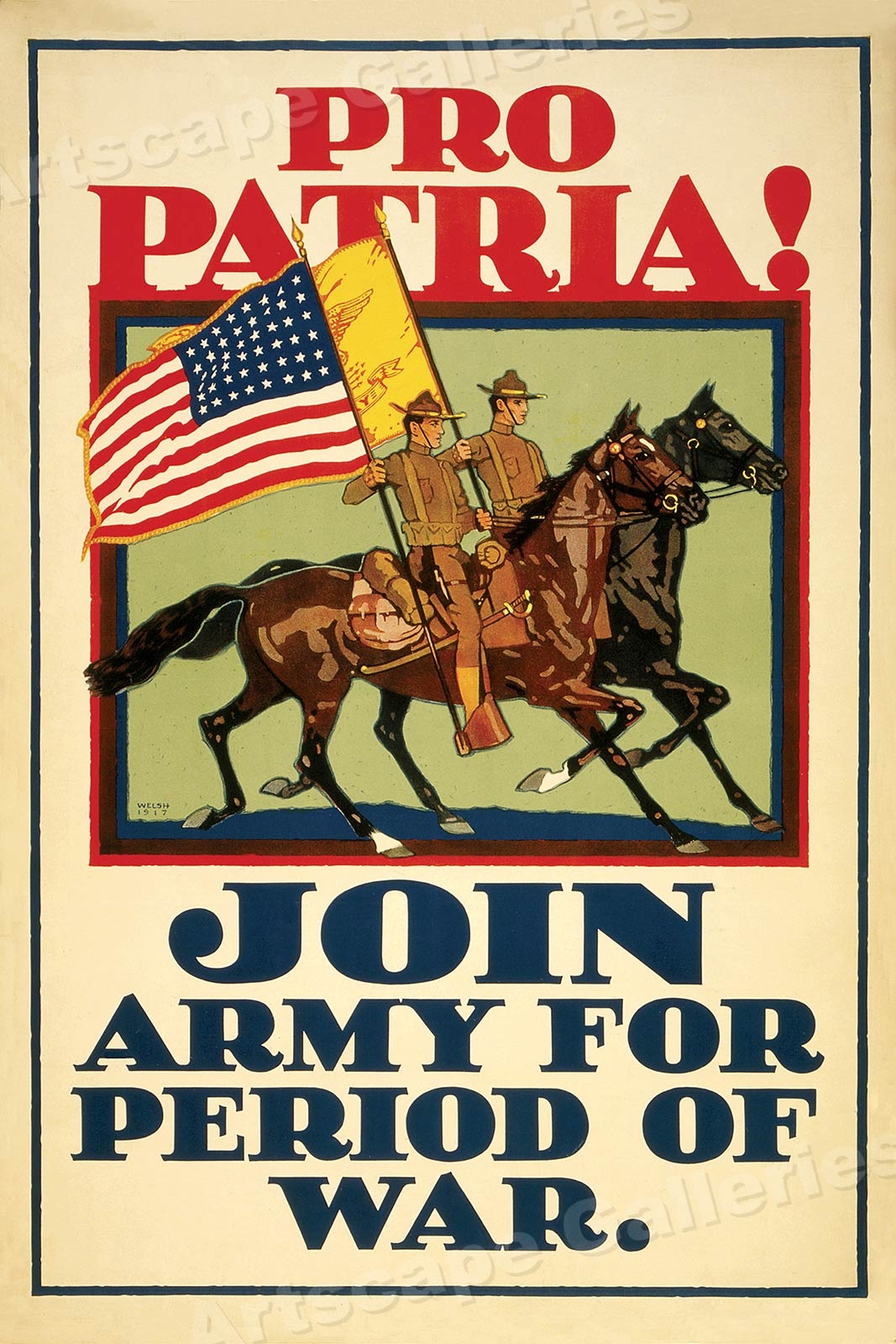 Pro Patria Join The Army For Period Of War Wwi Cavalry Poster 24x36 Ebay