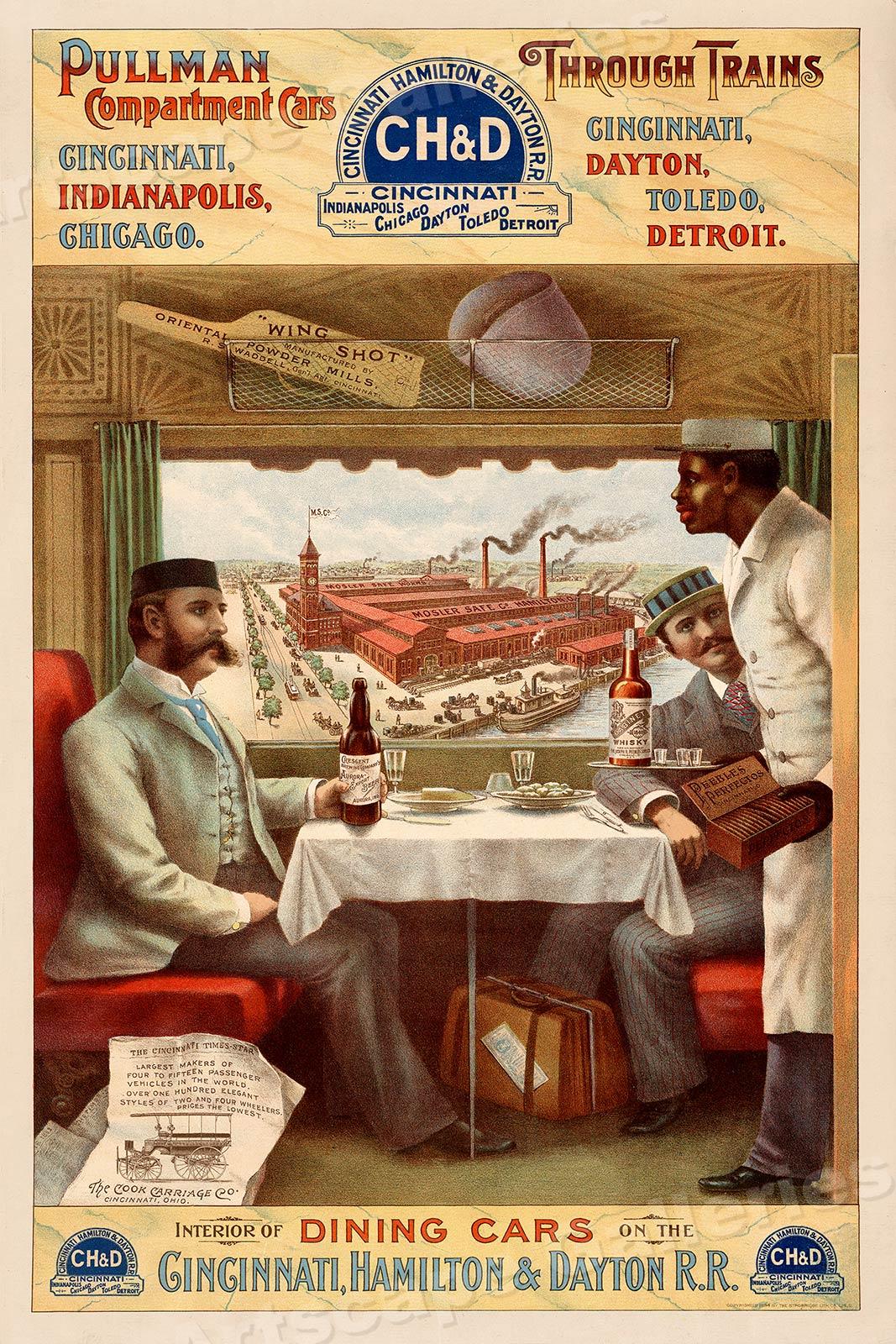 16x24 1890s Pullman Train Dining Car Classic Railroad Advertisement Poster