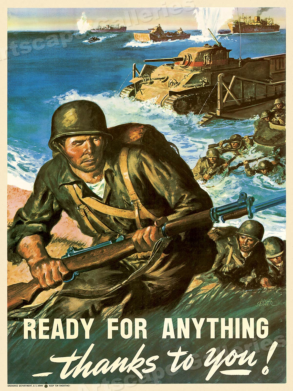 Details about Ready for Anything! Vintage Style WWII Army War Poster - 18x24