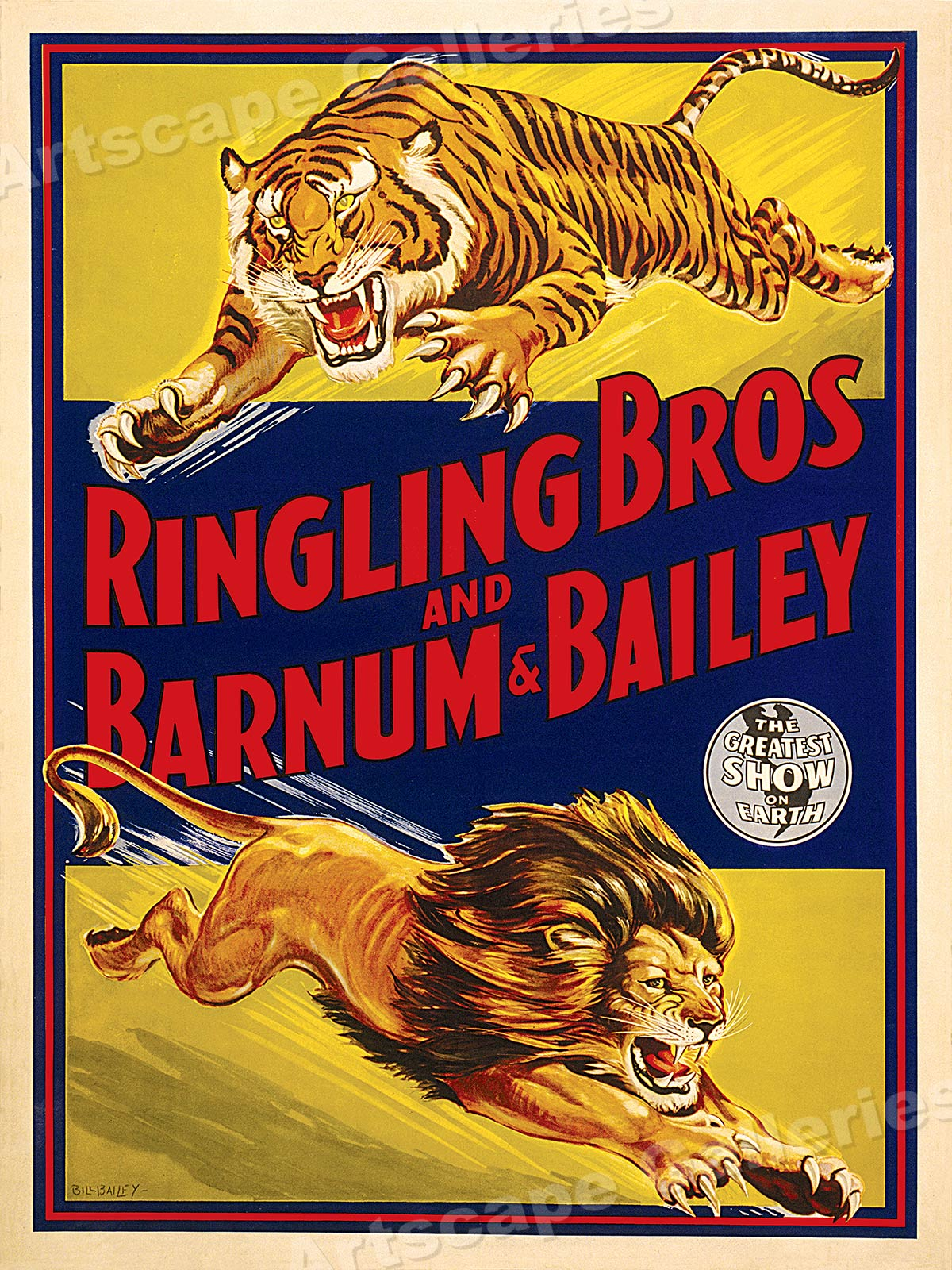1940s Ringling Barnum /& Bailey Lion /& Tiger Circus Poster 24x32
