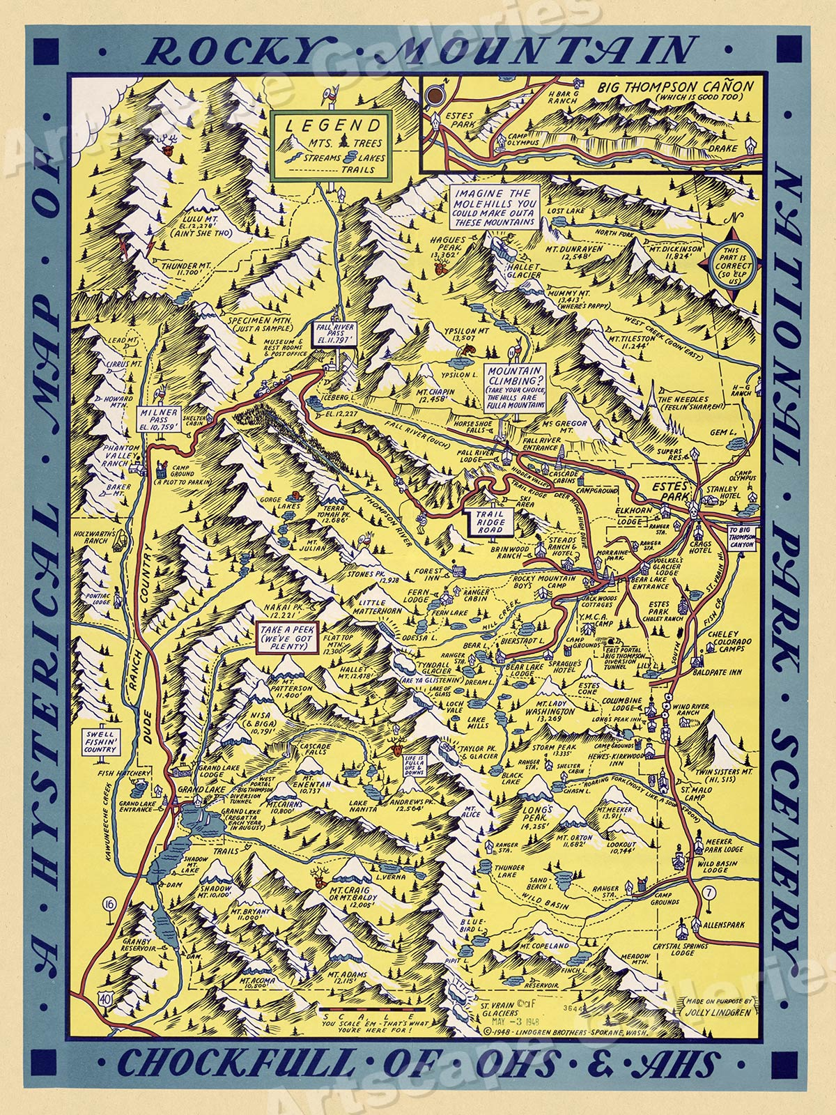 1948 Rocky Mountain National Park Historic Vintage Style Wall Map ...