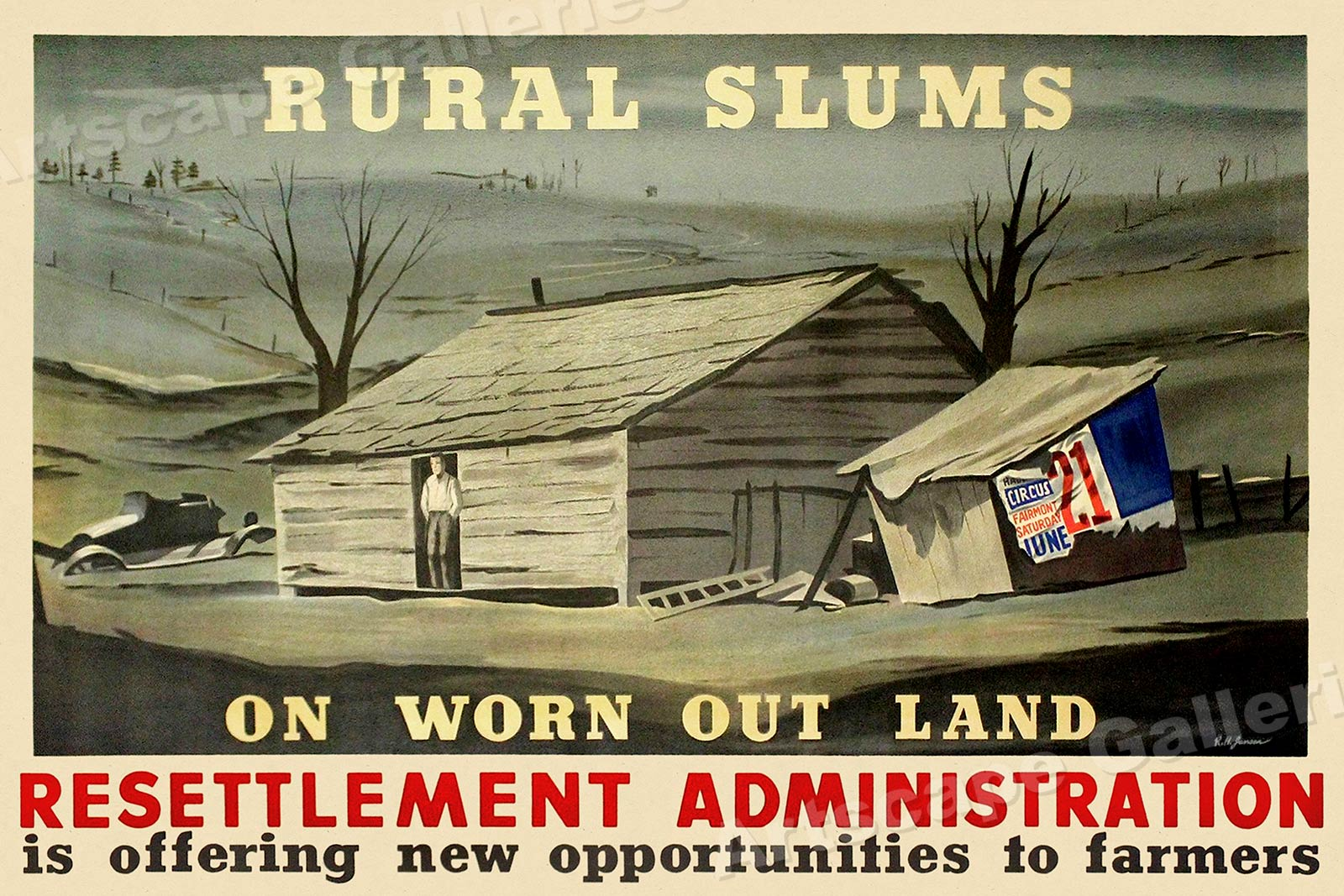 16x24 1936 Dust Bowl Farmland Rural Slums Resettlement Vintage Style Poster