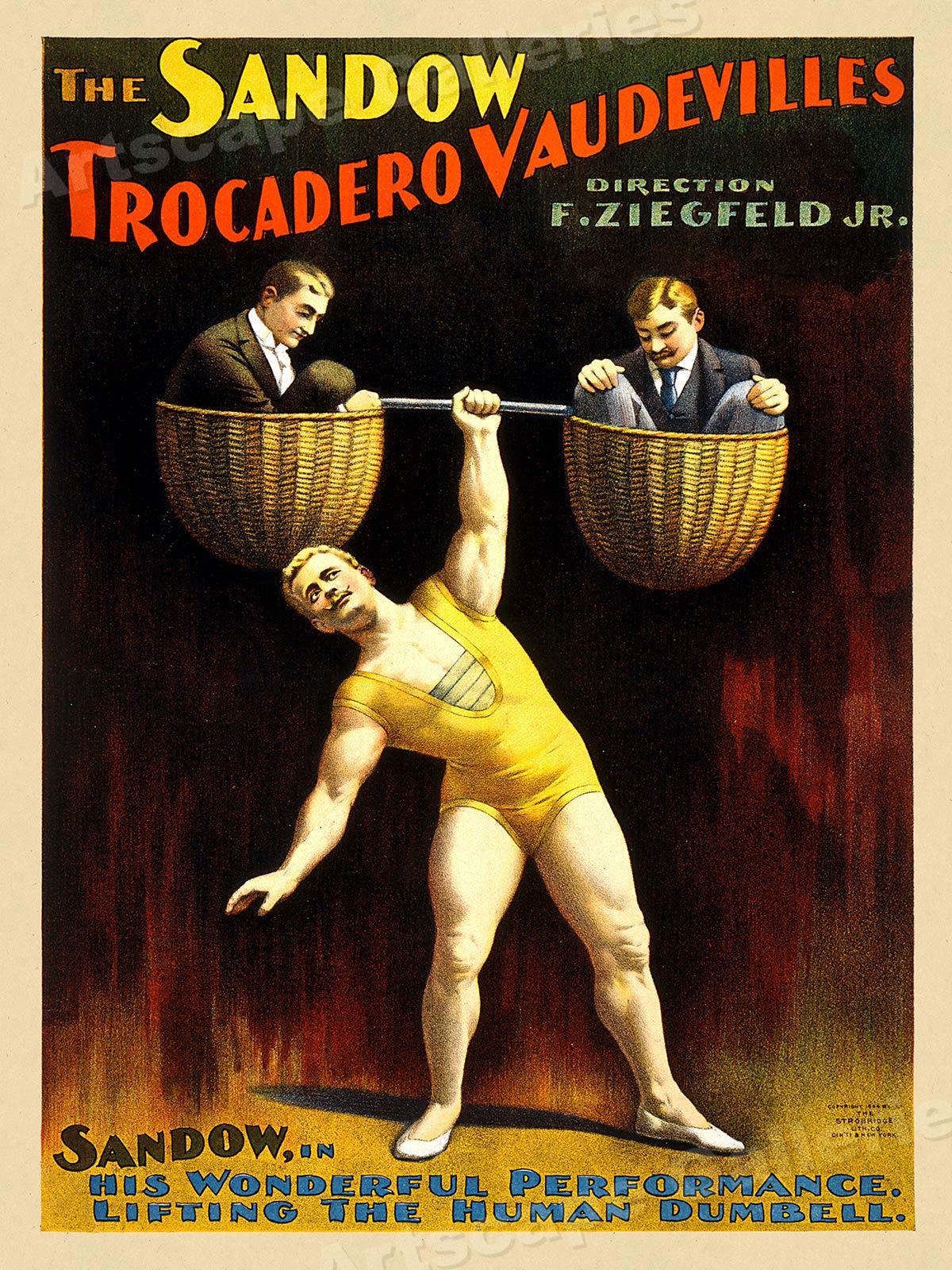 1890s Vaudeville Poster The Sandow Trocadero Vaudeville Act