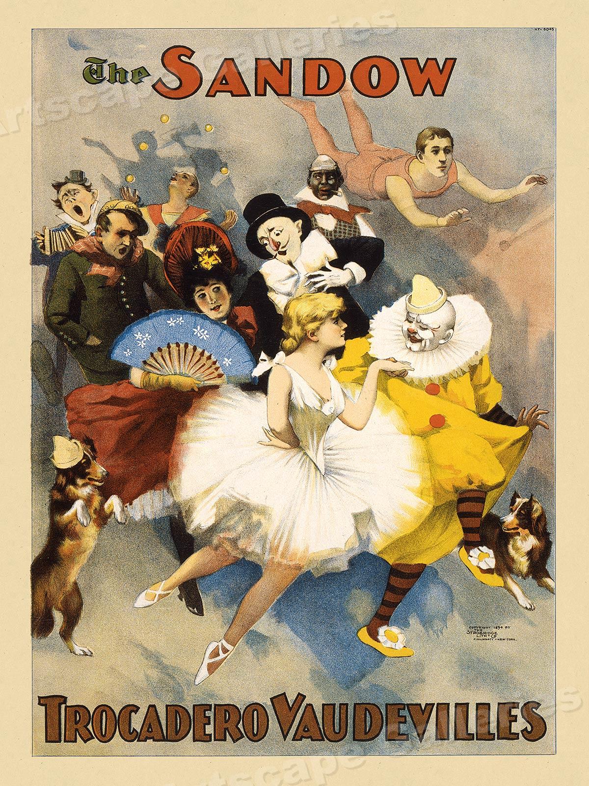 The Sandow Vaudeville Circus 1894 Poster Trocadero Vaudevilles