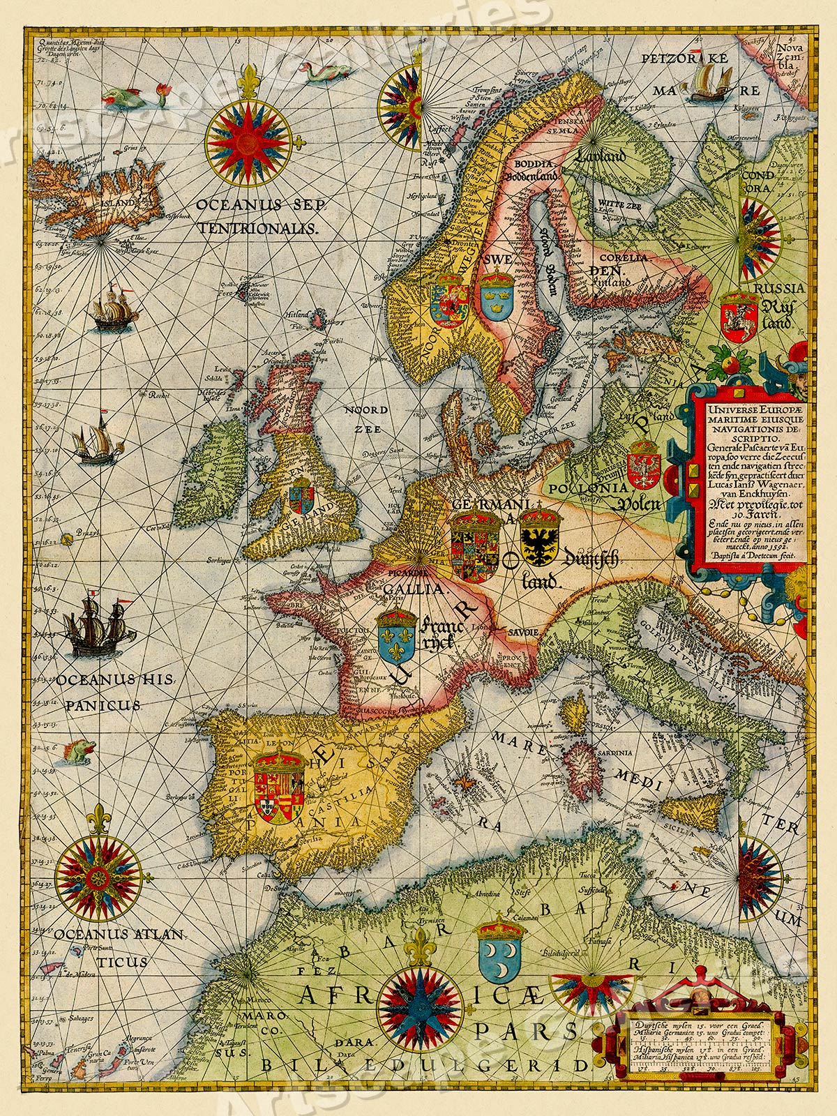 1639 Chesapeake Bay to Florida Historic Vintage Style Dutch Wall Map 24x36