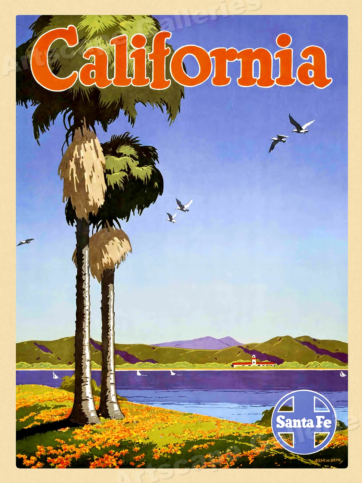 24x36 Santa Fe Back East 1920's Vintage Style Railroad Travel Poster