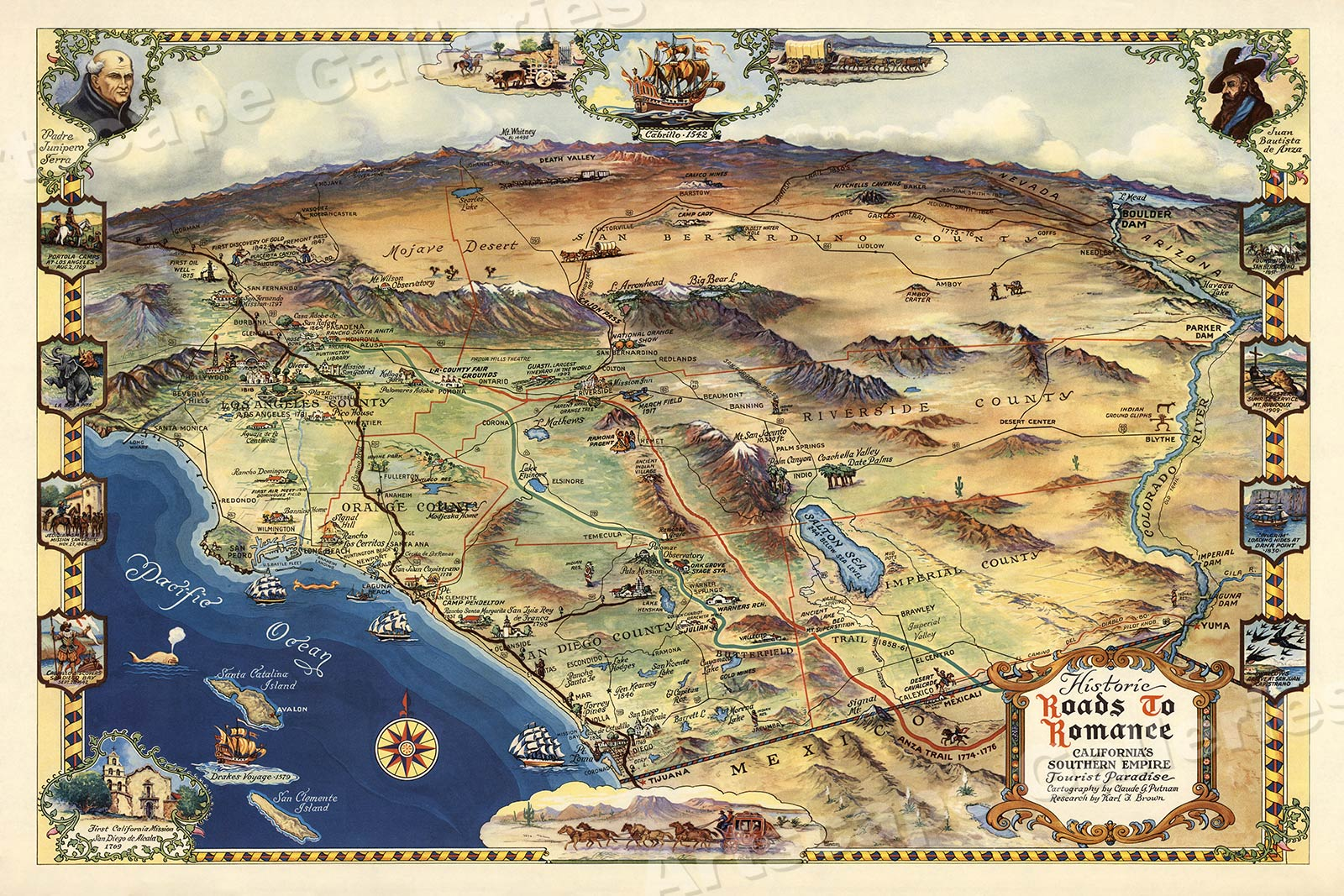 Details about 1946 Roads to Romance Southern California Old Map - 20x30