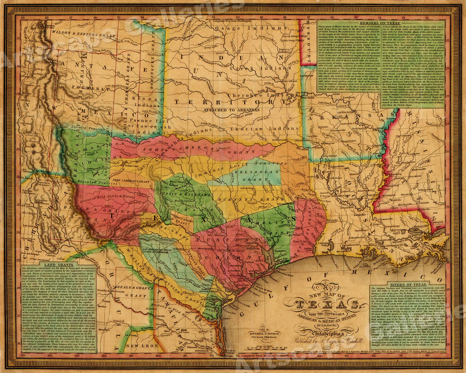 Details about 1835 Texas, Indian Territory & Mexican States Map Wall Map -  20x24
