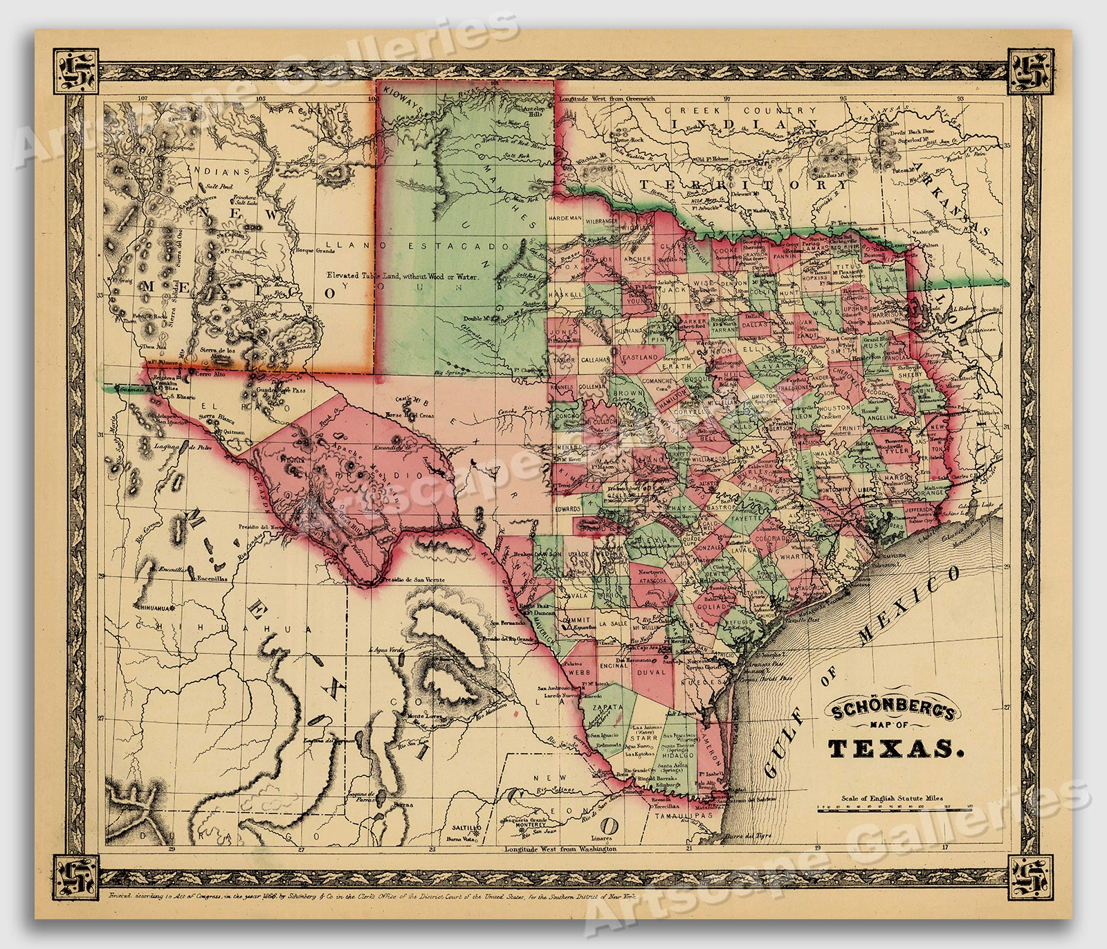 Map Of Texas 99.Details About 1866 Schonberg S Early Map Of Texas Historic Map 24x28