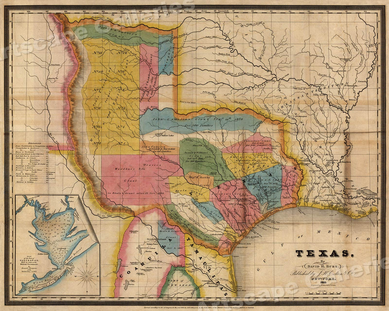 Map Of Texas 1835.Details About 1835 Territory Of Texas Map Of Land Grants 24x30