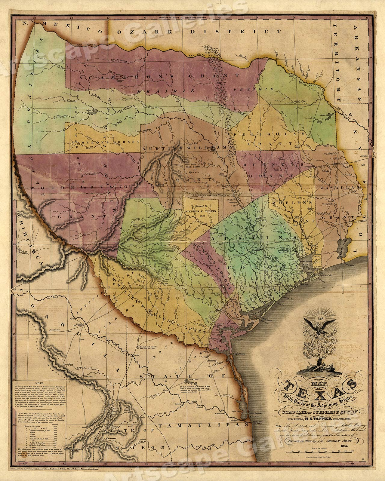 24x30 1830s Historic Map of The Republic of Texas by Stephen F Austin