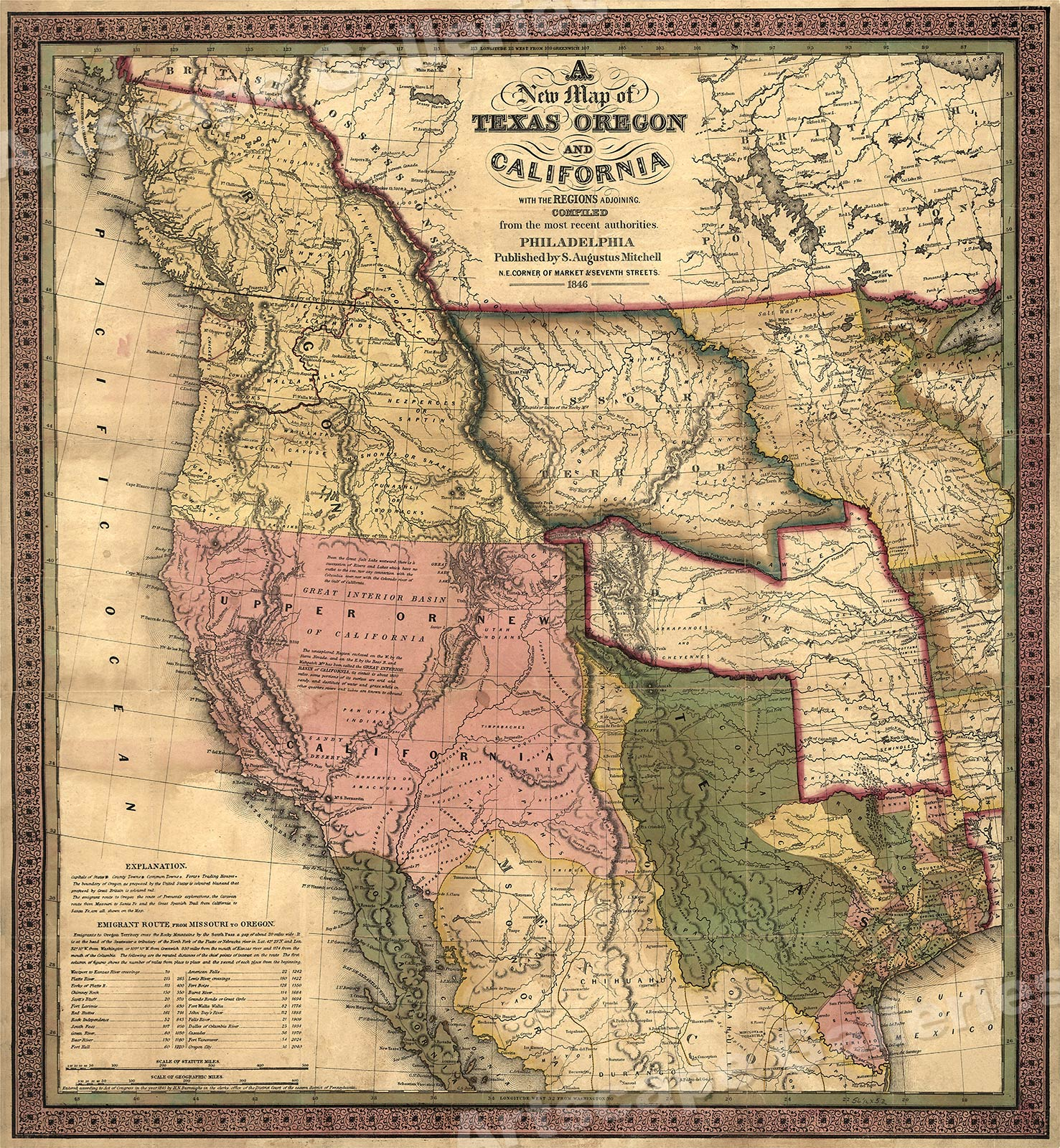 Historic 1840s Map Of Texas Oregon California Western Us 24x26