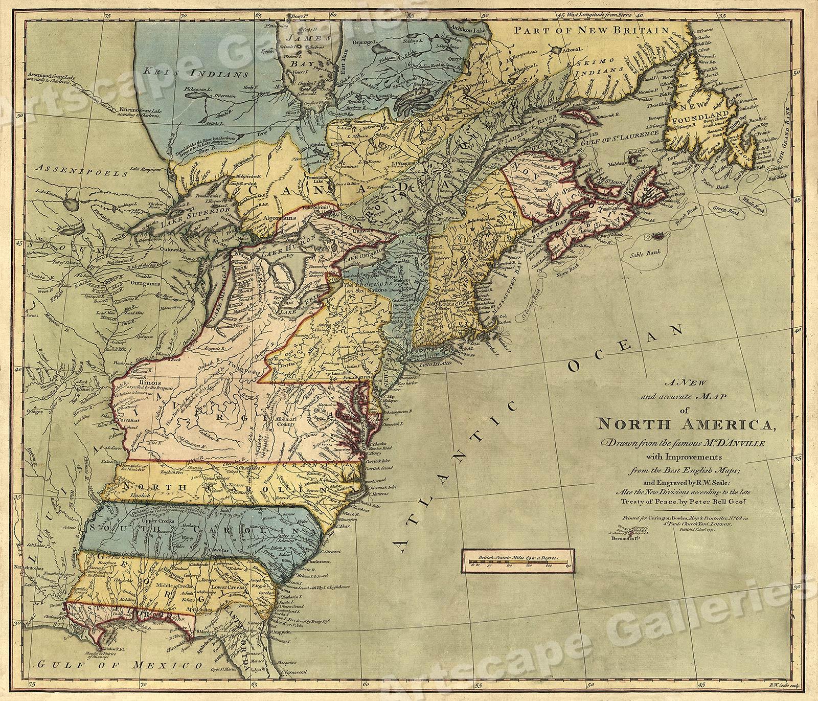 North America 1771 Colonial Map - 13 Colonies - 20x24 | eBay