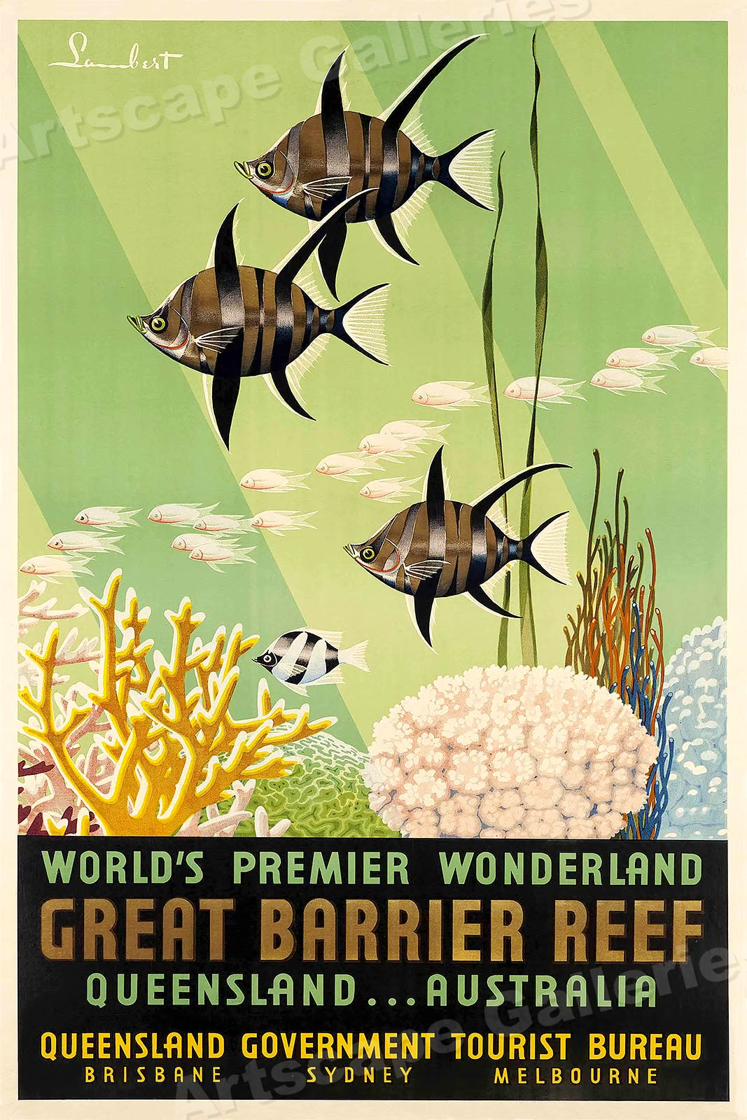 24x36 1950s Australia The Great Barrier Reef Vintage Style Travel Poster