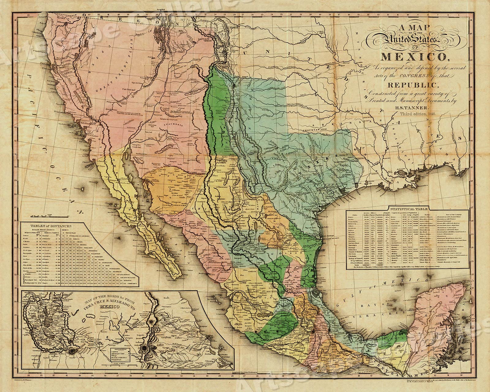A Map Of The United States Of Mexico 1846 Vintage Mexican Map