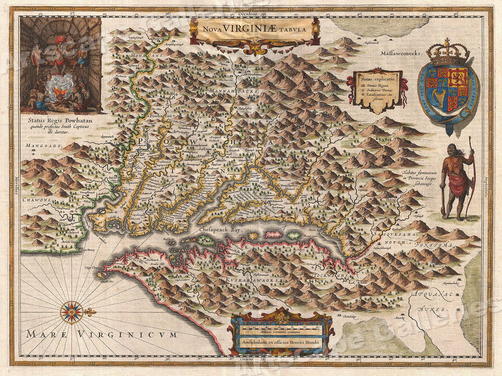 1630 Virginia Colonial Jamestown Historic Vintage Style Wall Map ...