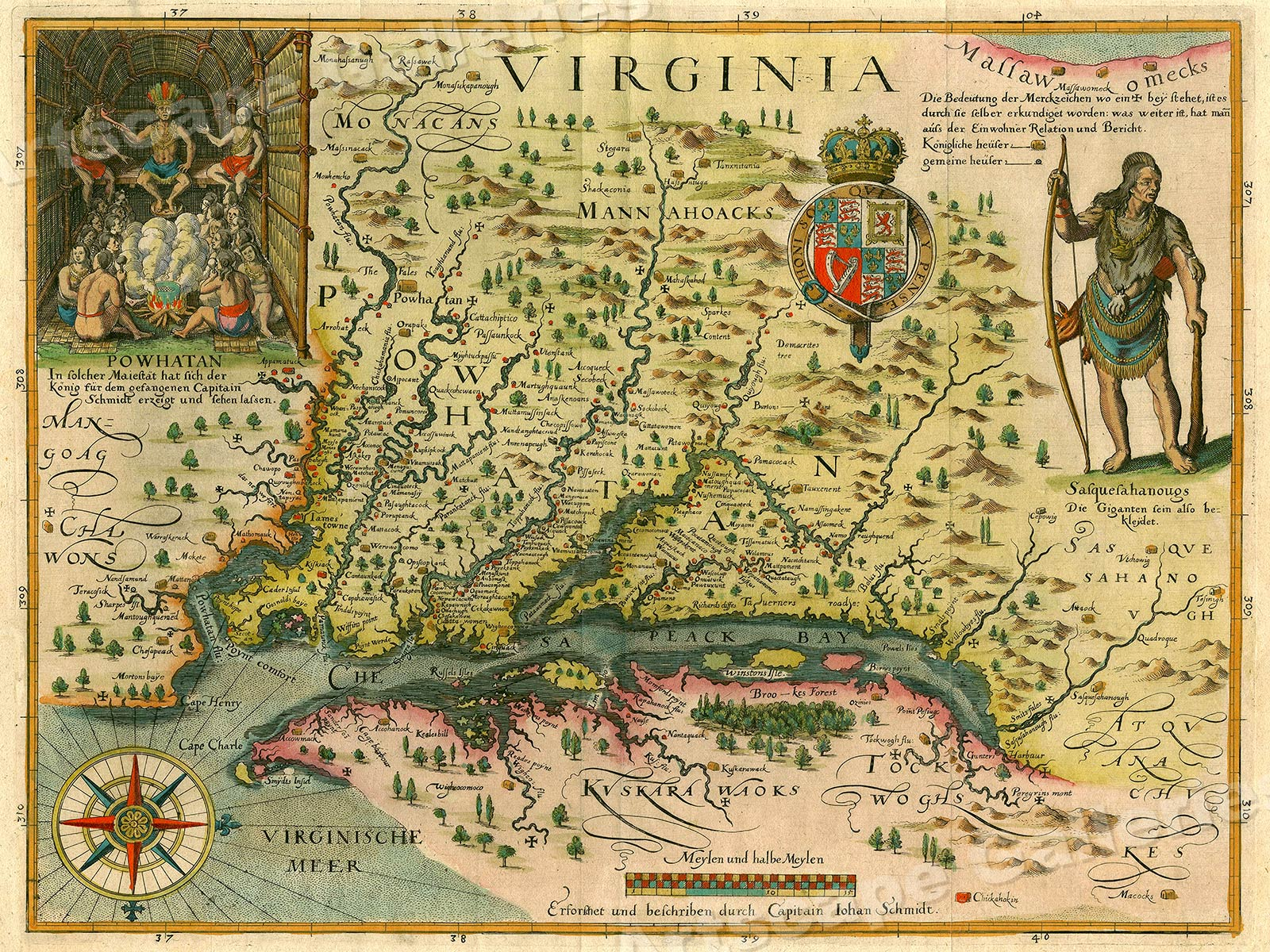 Map Of America Virginia.Details About 1620s Virginia Vintage Style Early Colonial America Map 20x28