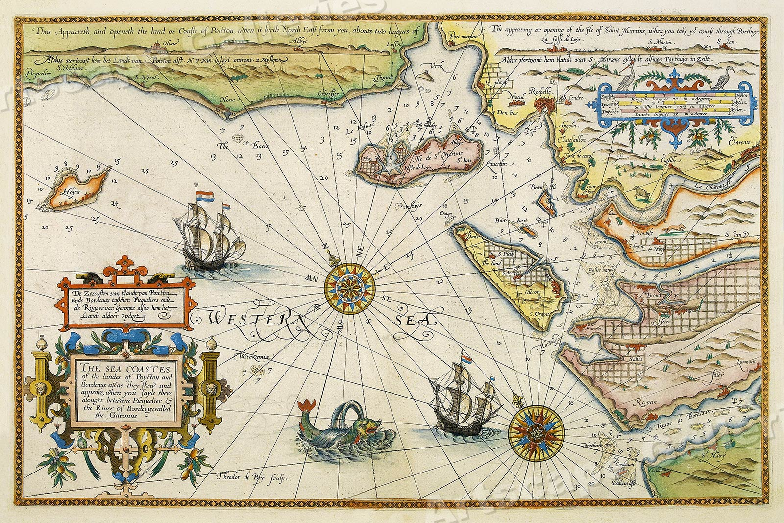 Map Of France Coast.Details About 1605 Sea Coast Of France Historic Vintage Style Wall Map 24x36