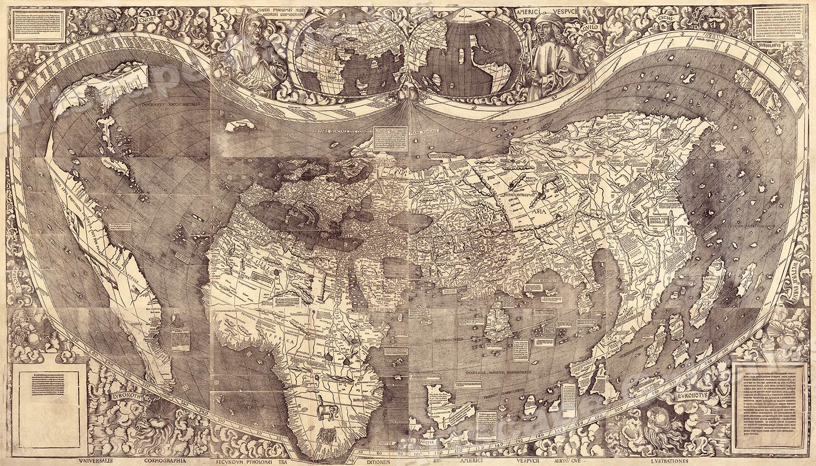 First Map Of America 1500s Waldseemuller Map of America   First Map to Name