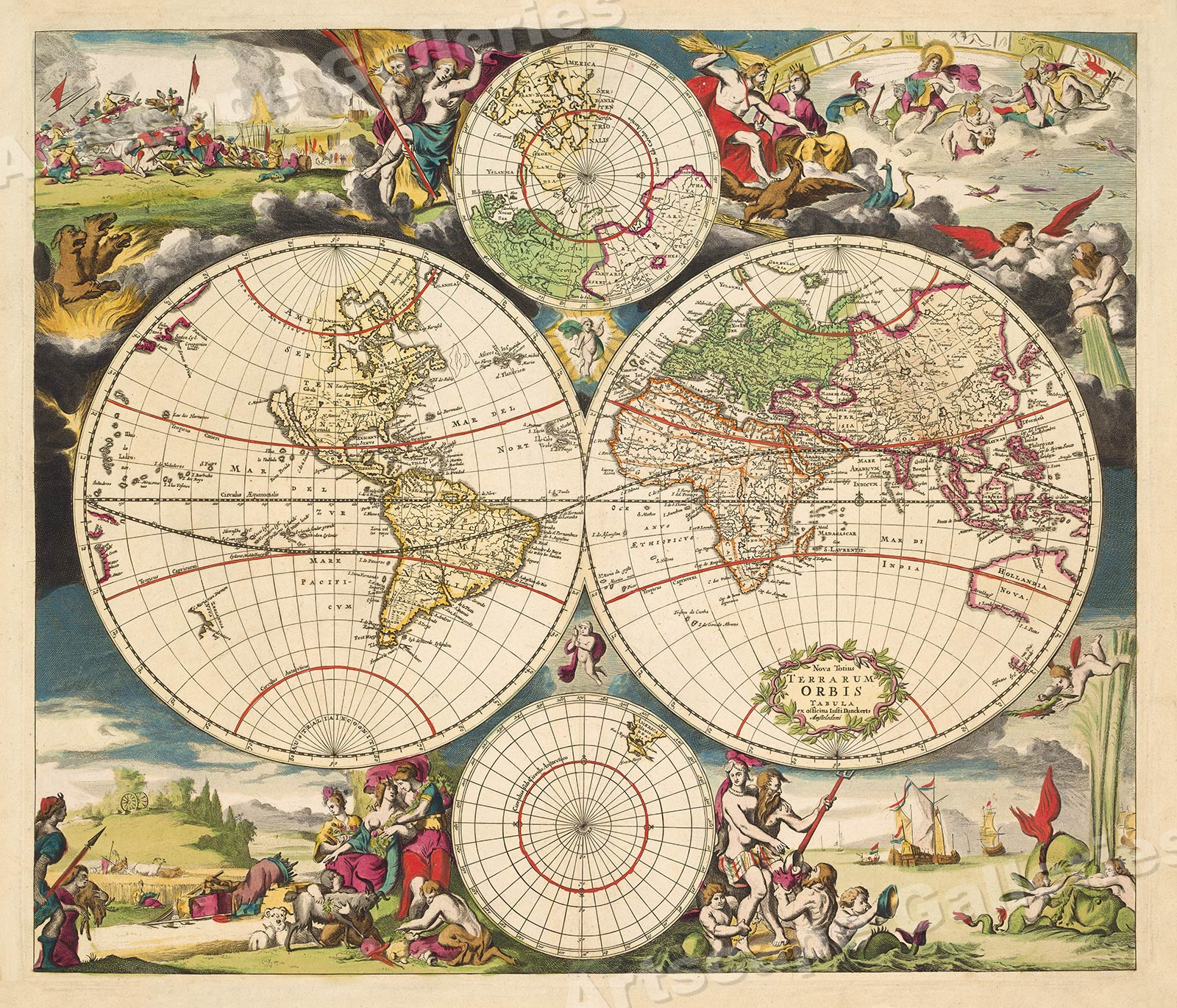 Vintage Style Old World Map Poster 1700s Hemisphere World Map 16x20