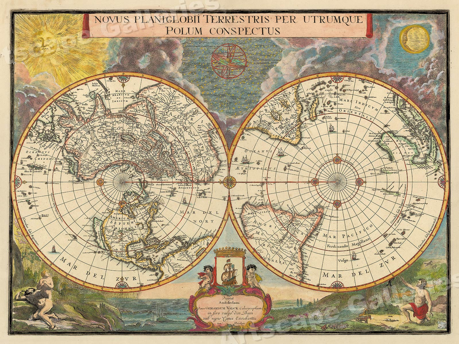 1695 Old World View Historic Vintage Style Wall Map 18x24 Ebay