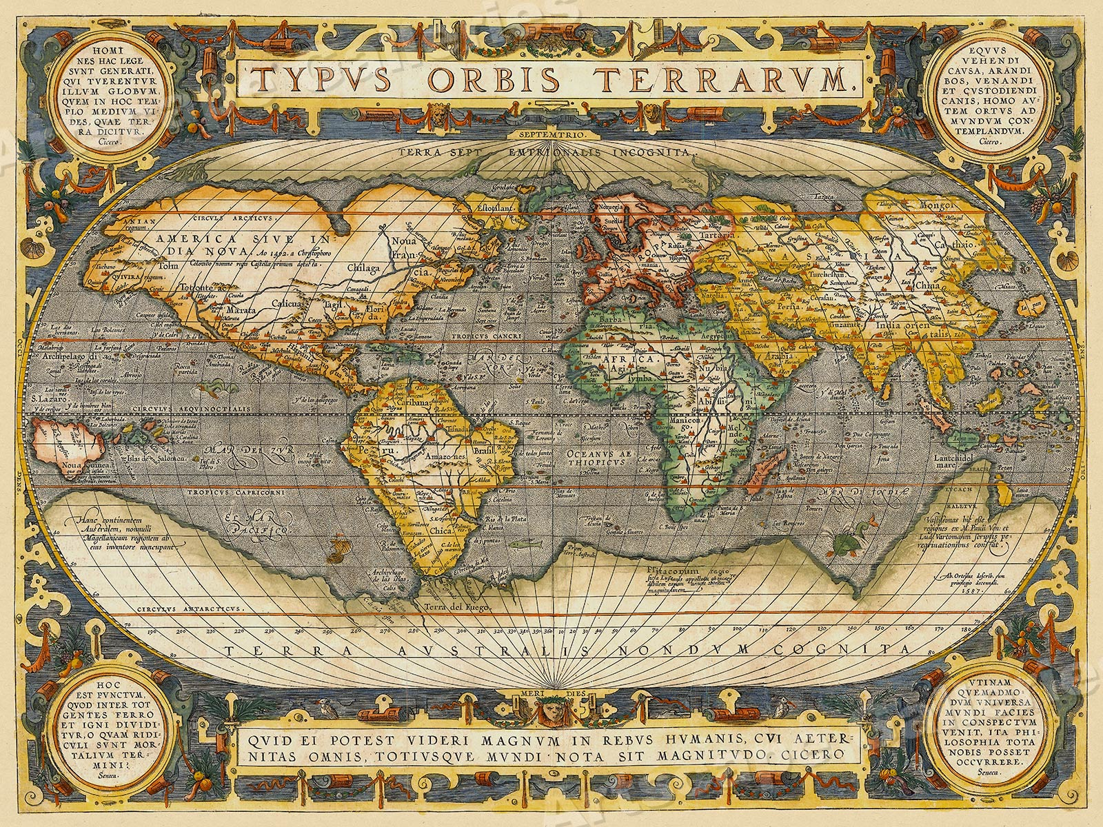 1608 World Map By Ortelius Historic Vintage Style Wall Map 18x24