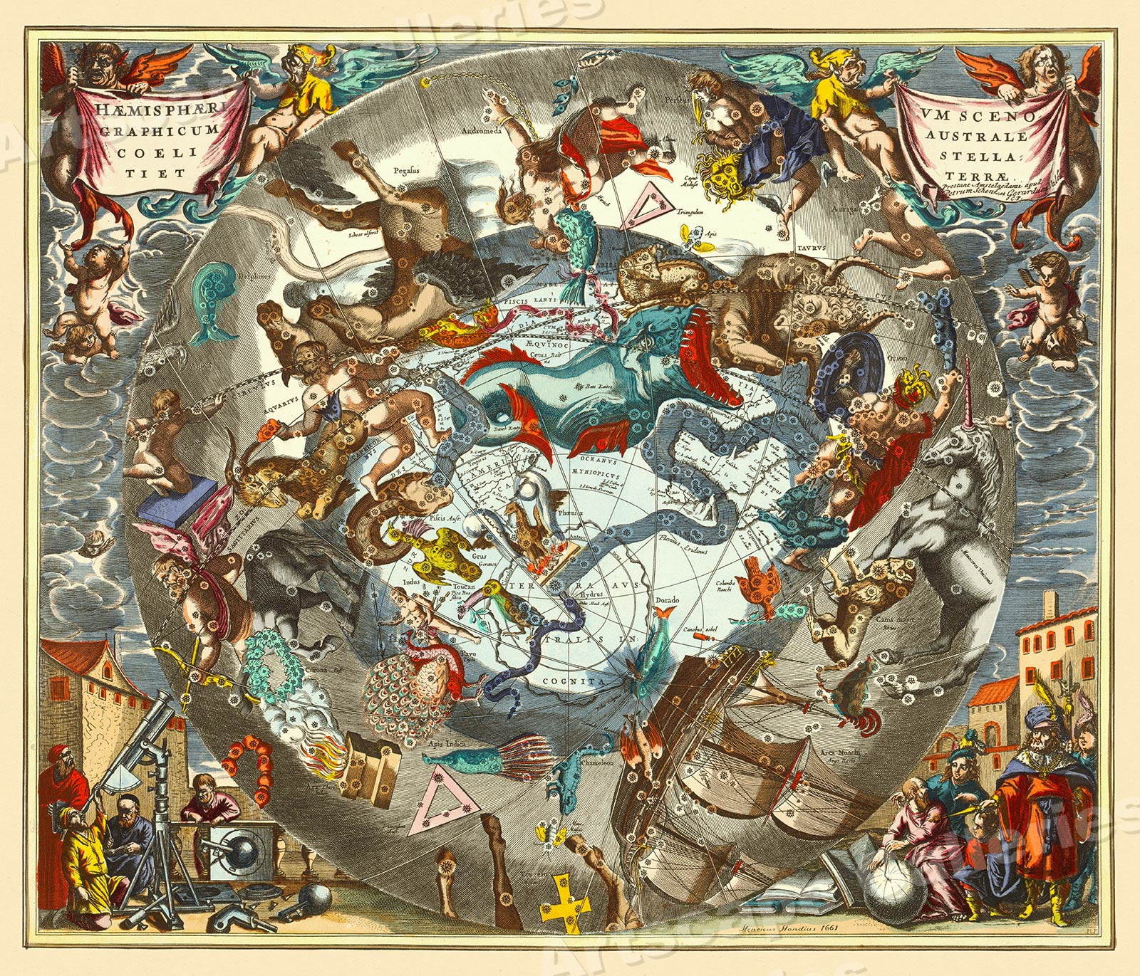 """Details about 1660s """"Celestial Chart of the Zodiac"""" Vintage Style on capitals of the world map, ancient greek astronomy map, moon map, fire map, astrology chart map, azimuth map, cat map, complete astrology map, earth map, world war z map, everest map, monkey map, constellation map, flags of the world map, skagen map, story map, zombie map, astrological sign map, scorpius map, titanic map,"""