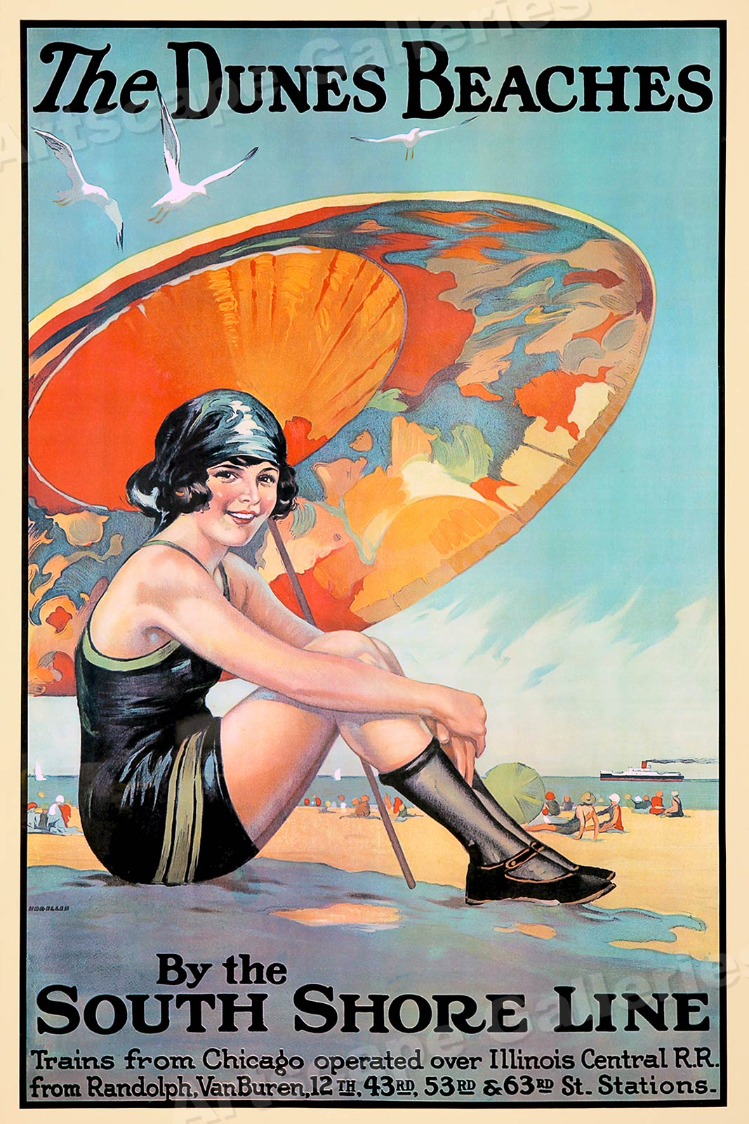 20x30 1920s The Dunes Beaches Vintage Style South Shore Travel Poster