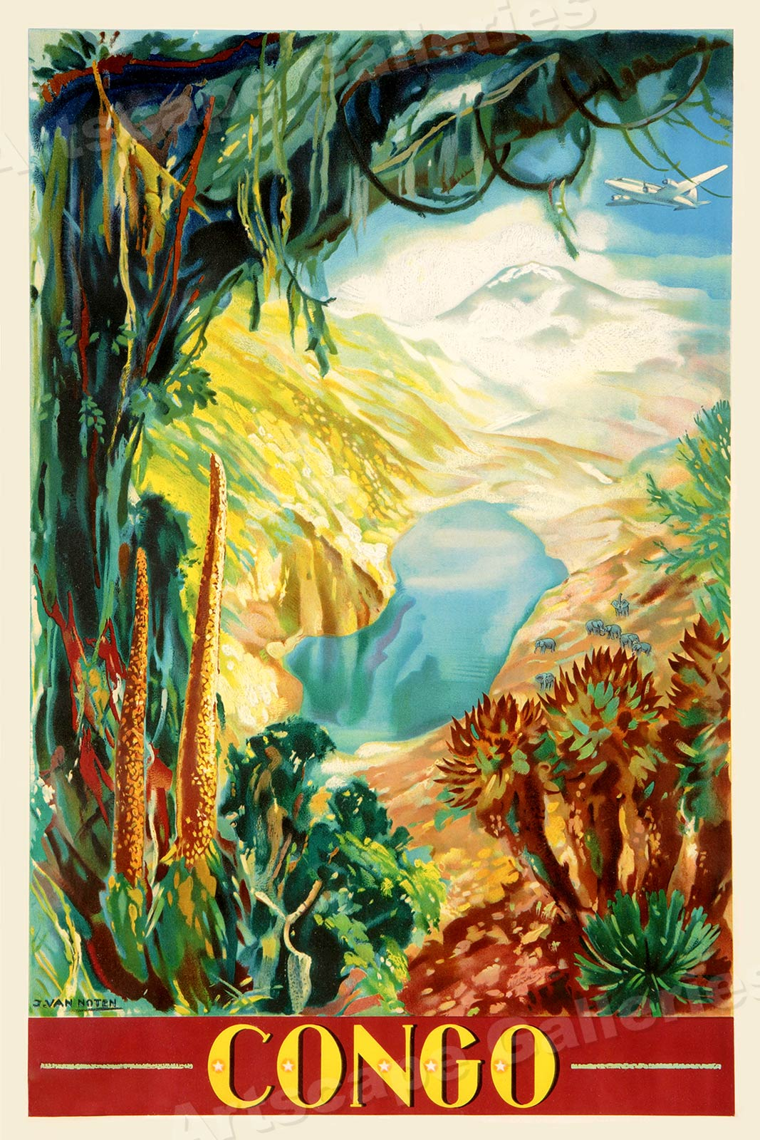 """24x36 1930s """"By Air to USSR"""" Vintage Style Russian Travel Poster"""