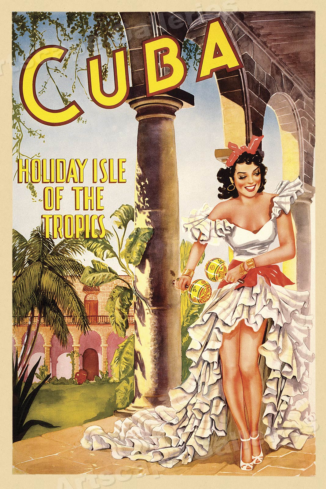 1940s Cuba Holiday Isle Classic Cuban Vintage Style Travel Poster ...